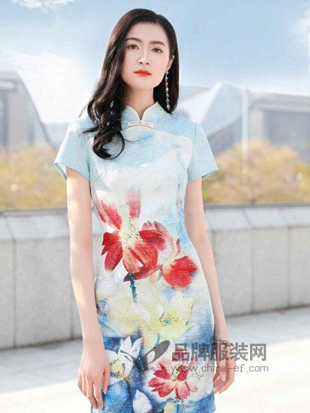 忆花寻女装2018春夏中国风荷花中式复古定位花改良真丝旗袍