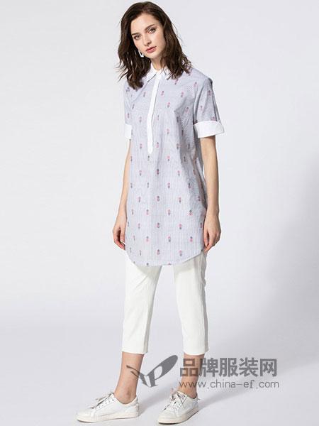 臣枫女装2018春夏新款女装宽松中长款衬衫上衣