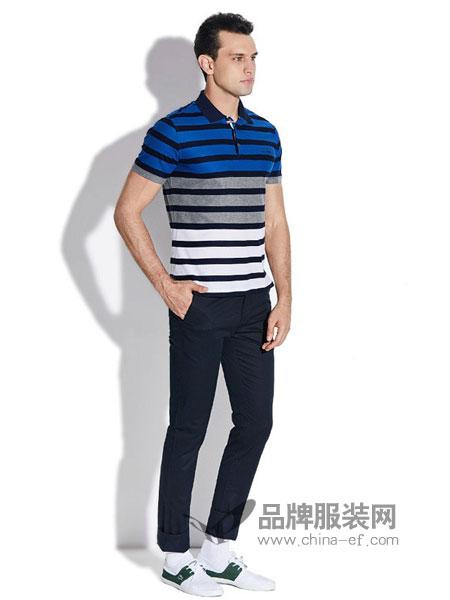 YANPENG、古老鲨鱼男装2018春夏桑蚕丝男士短袖t恤翻领条纹时尚休闲