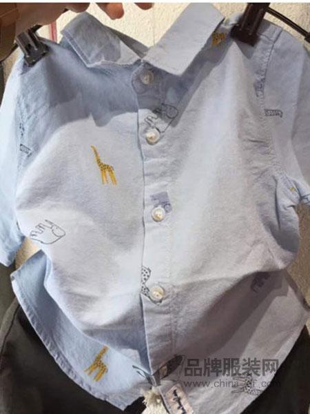 三年七班童装2018春夏男童可爱满印衬衣夏装