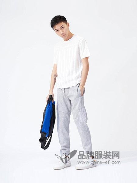 M-graph男装2018春夏新品时尚直筒休闲舒适抽绳运动裤长裤