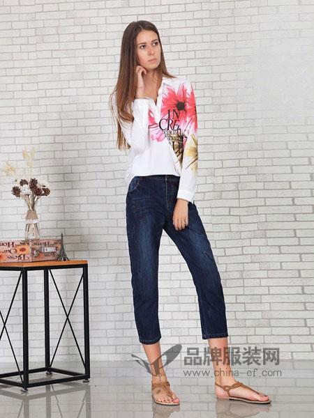 英吉兰依女装2018春夏深蓝高腰宽松时尚洋气阔腿直筒牛仔裤女