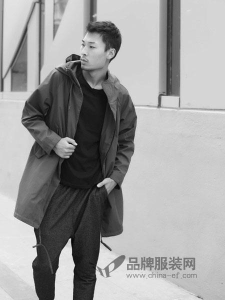 后印象男装2018秋冬休闲风衣男日系复古中长款风衣外套