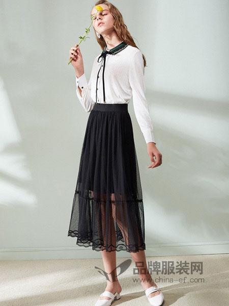 欧芮儿女装2018春夏黑色网纱裙半身裙女高腰显瘦中长款纱裙