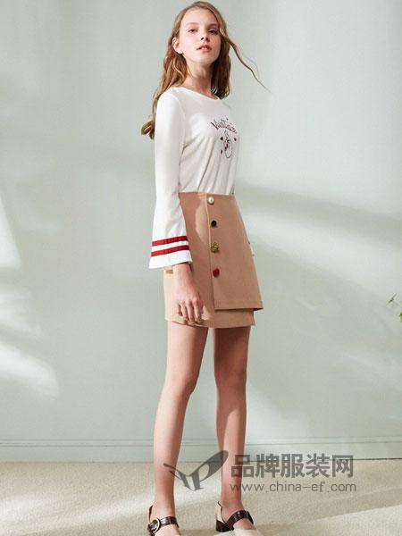欧芮儿女装2018春夏宽松显瘦字母上衣韩版刺绣喇叭袖t恤衫女长袖