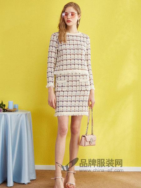 欧芮儿女装2018春夏格子高腰包臀裙时尚小香风套装时髦两件套