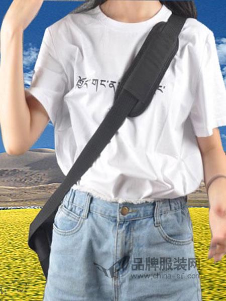 简丹枫鹭女装2018夏季新品 原创T恤百搭修身简约印花体恤K