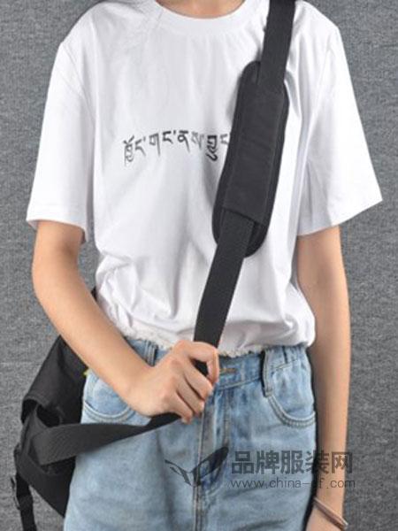 简丹枫鹭女装2018夏季新品 原创T恤纯色字母印花圆领短袖T恤