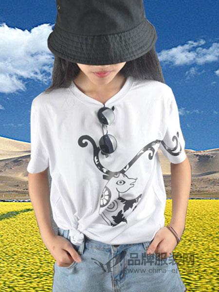 简丹枫鹭女装2018夏季新品 原创T恤韩版短袖宽松印花女恤