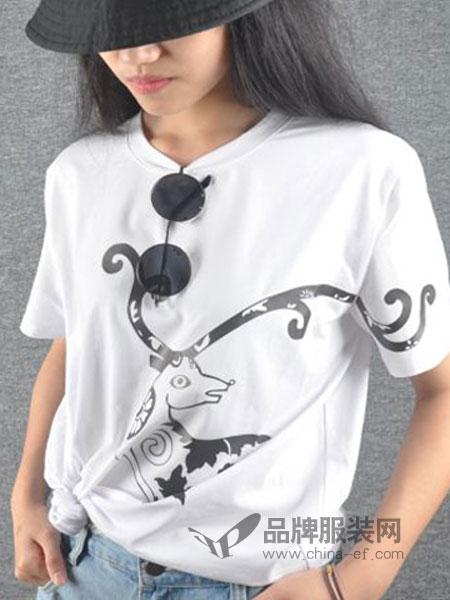 简丹枫鹭女装2018夏季新品 原创T恤宽松显瘦套头纯棉露肩短袖个性印花潮流