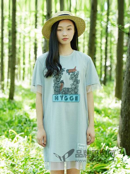 Earth Music&Ecology女装2018春夏图案印花网纱连衣裙休闲宽松中长裙