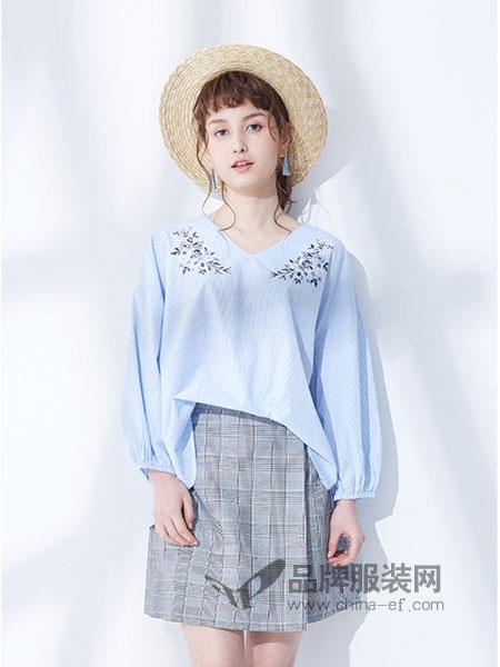 Earth Music&Ecology女装2018春夏新品甜美刺绣V领纯棉宽松条纹衬衫