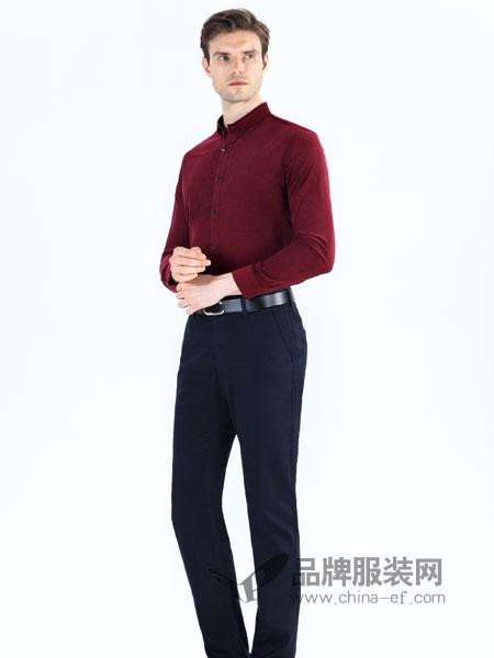 男人智造彩75注册2018秋冬新品立领珠地布酒红色长袖衬衫