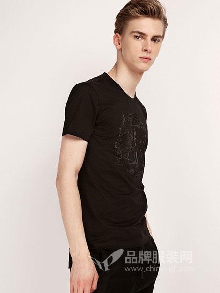 莫畏男装2018春夏新款男士丝光棉舒适透气狮子绣花圆领短袖T恤