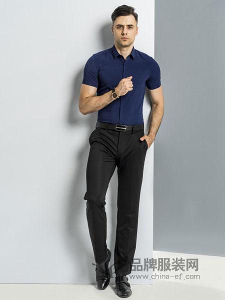 比亚图男装2018春夏商务中青年休闲男士衬衣
