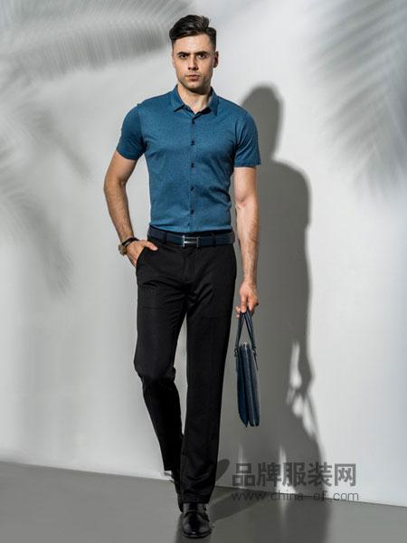 比亚图男装2018春夏修身韩版潮流纯棉纯色半袖男士工装短袖衬衣