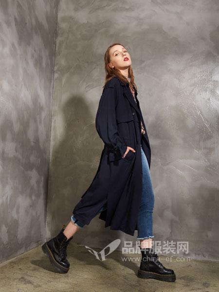 埃迪拉女装2018秋冬西装领休闲直身中长款风衣外套