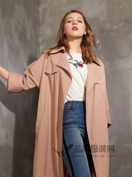 埃迪拉女装2018秋冬韩版宽松显瘦大衣时尚端庄气质系带外套