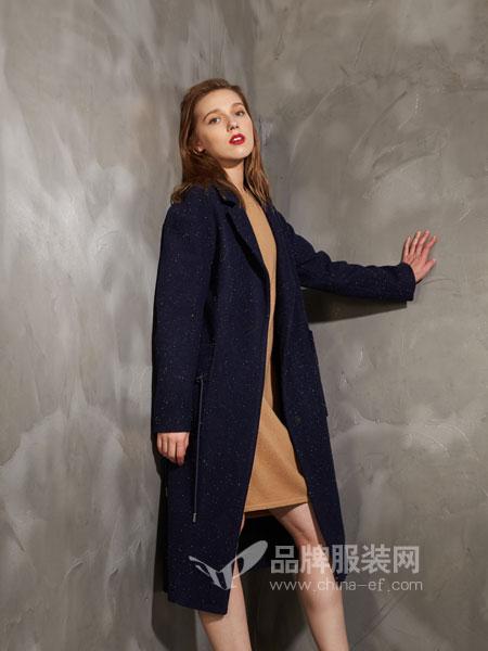 埃迪拉女装2018秋冬连帽保暖羊毛大衣中长款蓝色宽松外套