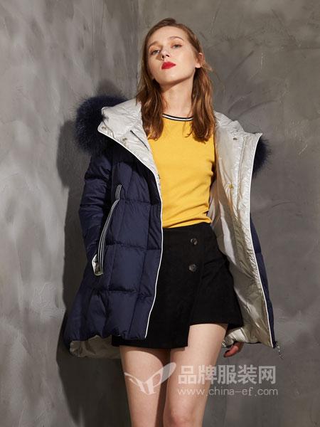 埃迪拉女装2018秋冬连帽羽绒服女中长款加厚显瘦外套