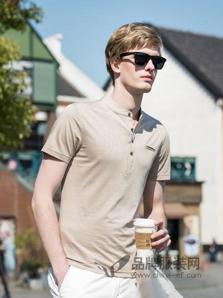 袋鼠男装2018春夏韩版袖纯色时尚半袖休闲体恤潮男装立领