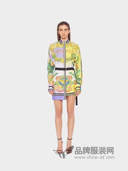 范思哲(versace)女装2018春夏中长款不规则裙摆宽松大码印花连衣裙