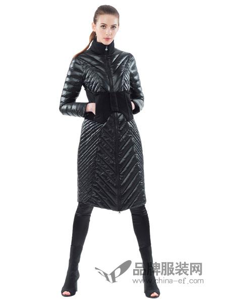 SNOWMAN NEW YORK女装2018秋冬大毛领菱形格修身中长款羽绒服女新款潮