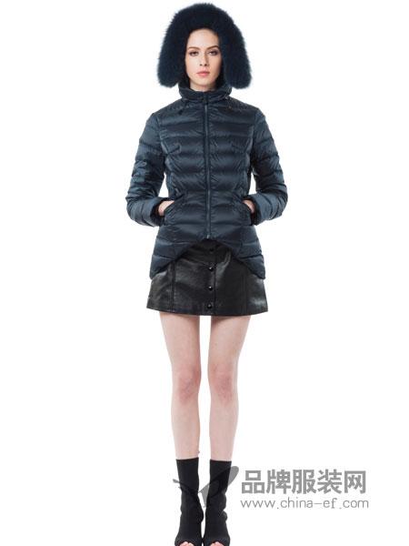 SNOWMAN NEW YORK女装2018秋冬立领休闲拉链时尚修身羽绒服短款冬外套