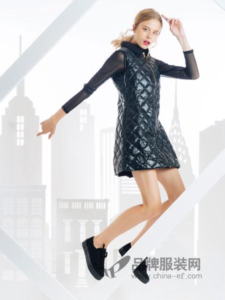 SNOWMAN NEW YORK女装2018秋冬连帽中长款格子保暖宽松羽绒服外套