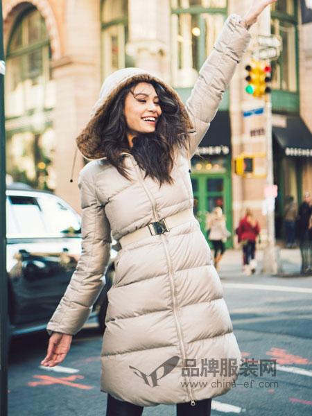 SNOWMAN NEW YORK女装2018秋冬休闲大毛领修身腰带中长款