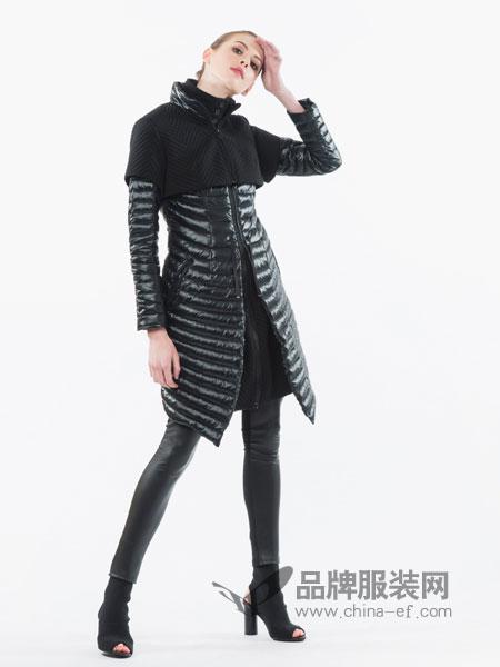 SNOWMAN NEW YORK女装2018秋冬新款翻领长袖保暖中长款羽绒外套