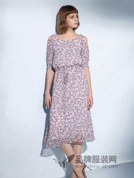 艺诗女装2018春夏新款圆领肩带五分袖松紧腰修身裙