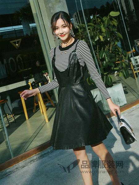 美丽衣橱女装2018春夏新款气质高腰百搭PU背带裙条纹时尚套装