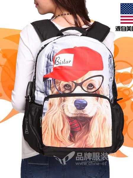 Bistar Galaxy箱包2018春夏休闲书包学院风双肩包电脑背包可爱狗狗背包