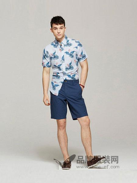 查普斯休闲2018春夏短袖机织衬衣沙滩度假休闲印花衬衫