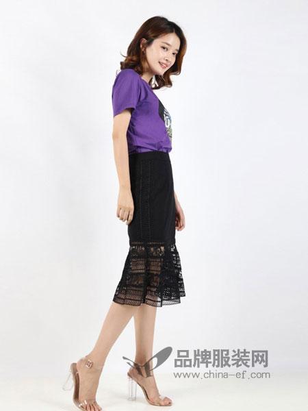 傲丝度女装2018春夏短袖打底衫紫色百搭上衣时尚修身纯色
