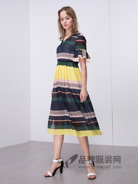 傲丝度女装2018春夏新款多彩撞色荷叶袖V领收腰连衣裙