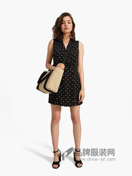 Stradivarius女装2018春夏气质显瘦V领高腰无袖系带过膝裙