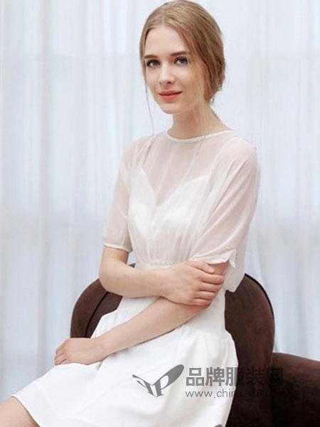 YML伊魅玲女装2018春夏新款白色圆领网纱高腰超仙仙女收腰显瘦裙