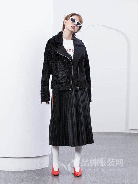 如小来女装2018秋冬时髦短款皮衣外套两件套网纱裙套装潮