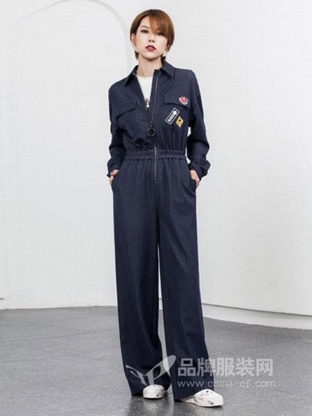 如小来女装2018秋冬新款深蓝色米色收腰休闲亚麻短外套