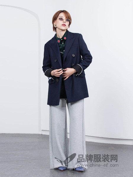 如小来女装2018秋冬新款100%羊毛双排扣纯羊毛大衣