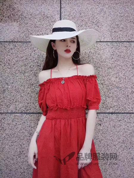 柏颜达linbayond女装2018春夏韩版时尚气质红色一字肩松紧连衣裙短袖长款