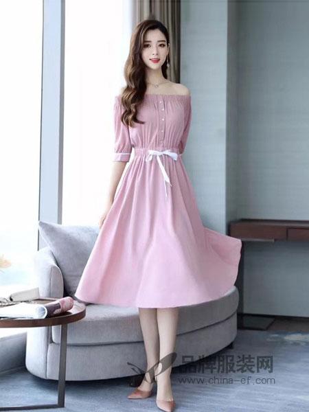 柏颜达linbayond女装2018春夏新款性感露肩一字领裙子女