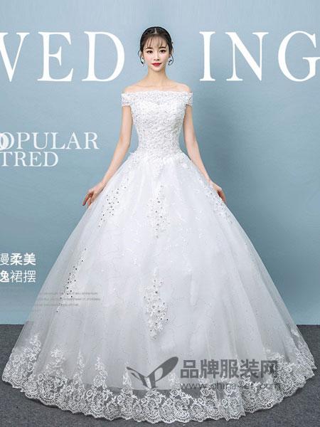 唯纱飞尔女装2018春夏新款韩版新娘修身齐地公主显瘦抖音同款轻