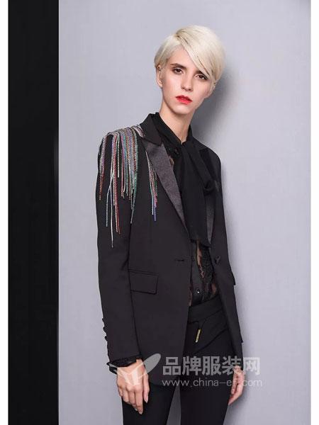 维斯提诺女装外套韩版修身职业九分裤西装套装