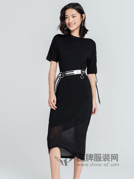 DoubleLove女装2018春夏系带短袖针织连衣裙新款小黑裙