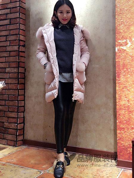 也色INCREDIBLECOLOUR女装2018秋冬气质淑女连帽毛领羽绒服中长款韩版外套