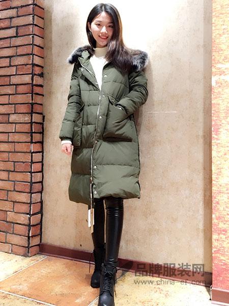 也色INCREDIBLECOLOUR女装2018秋冬纯色时尚百搭修身长袖中长款羽绒服