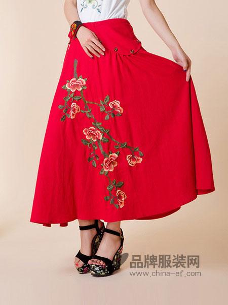 南诏布衣女装2018春夏民族风女装 新品棉麻刺绣半身裙 绣花腰裙中长裙